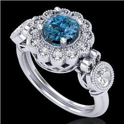 1.5 CTW Intense Blue Diamond Solitaire Art Deco 3 Stone Ring 18K White Gold - REF-218N2Y - 37852