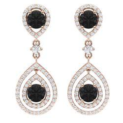 3.62 CTW Certified Black VS Diamond Earrings 18K Rose Gold - REF-190W9H - 39112