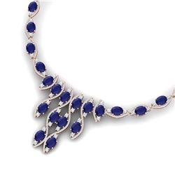 65.93 CTW Royalty Sapphire & VS Diamond Necklace 18K Rose Gold - REF-1072F8M - 39001