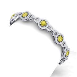 10 CTW Si/I Fancy Yellow And White Diamond Bracelet 18K White Gold - REF-886M4F - 40091