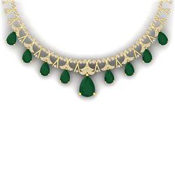 56.94 CTW Royalty Emerald & VS Diamond Necklace 18K Yellow Gold - REF-1236R4K - 38702