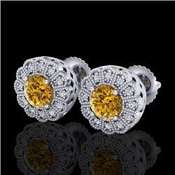 1.32 CTW Intense Fancy Yellow Diamond Art Deco Stud Earrings 18K White Gold - REF-160R2K - 37840