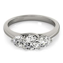 3 CTW Certified VS/SI Diamond 3 Stone Bridal Ring 14K White Gold - REF-802M2F - 25865
