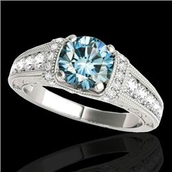1.5 CTW SI Certified Fancy Blue Diamond Solitaire Antique Ring 10K White Gold - REF-180N2Y - 34779