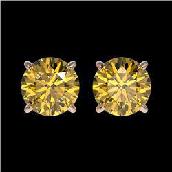 1.54 CTW Certified Intense Yellow SI Diamond Solitaire Stud Earrings 10K Rose Gold - REF-154Y5N - 36