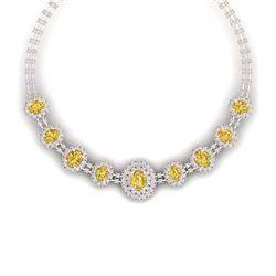 43.20 CTW Royalty Canary Citrine & VS Diamond Necklace 18K Rose Gold - REF-1490X9T - 38806