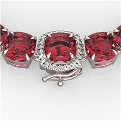 100 CTW Pink Tourmaline & VS/SI Diamond Necklace 14K White Gold - REF-982R4K - 23356