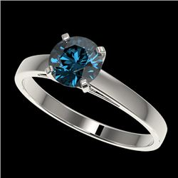 1 CTW Certified Intense Blue SI Diamond Solitaire Engagement Ring 10K White Gold - REF-140Y4N - 3298