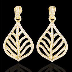 2.50 CTW Micro Pave VS/SI Diamond Certified Earrings Designer 18K Yellow Gold - REF-214F5M - 21152