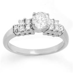 1.0 CTW Certified VS/SI Diamond Ring 14K White Gold - REF-137R6K - 11627
