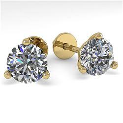 1.53 CTW Certified VS/SI Diamond Stud Earrings 14K Yellow Gold - REF-291M3F - 30572