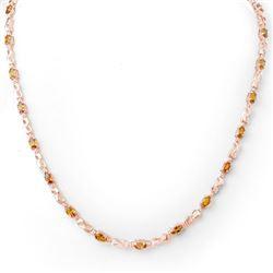 9.02 CTW Orange Sapphire & Diamond Necklace 14K Rose Gold - REF-87X3T - 11645