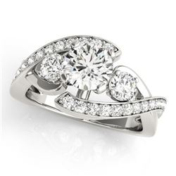 2.01 CTW Certified VS/SI Diamond Bypass Solitaire Ring 18K White Gold - REF-558M5F - 27669