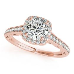 0.90 CTW Certified VS/SI Diamond Solitaire Halo Ring 18K Rose Gold - REF-137X3T - 26543