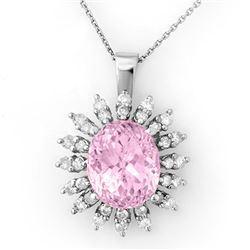 8.68 CTW Kunzite & Diamond Necklace 18K White Gold - REF-150W9H - 10345