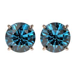 2.50 CTW Certified Intense Blue SI Diamond Solitaire Stud Earrings 10K Rose Gold - REF-338T2X - 3310