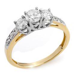 1.0 CTW Certified VS/SI Diamond Ring 14K 2-Tone Gold - REF-87K5R - 10196