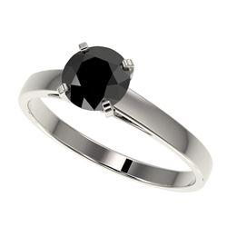 1 CTW Fancy Black VS Diamond Solitaire Engagement Ring 10K White Gold - REF-34H2W - 32984
