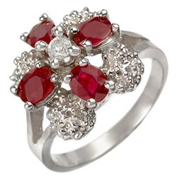 1.58 CTW Ruby & Diamond Ring 10K White Gold - REF-30K2R - 10843