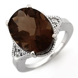 9.18 CTW Smoky Topaz & Diamond Ring 14K White Gold - REF-50R4K - 11648
