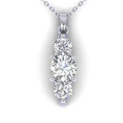 1.25 CTW Certified VS/SI Diamond Art Deco 3 Stone Necklace 14K White Gold - REF-193W3H - 30480
