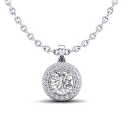 1 CTW VS/SI Diamond Solitaire Art Deco Stud Necklace 18K White Gold - REF-180R2K - 36965