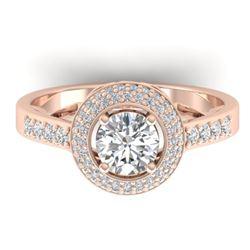 1.45 CTW Certified VS/SI Diamond Art Deco Micro Halo Ring 14K Rose Gold - REF-217X3T - 30487