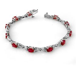 7.11 CTW Ruby & Diamond Bracelet 14K White Gold - REF-82F8M - 14010