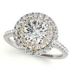 1.5 CTW Certified VS/SI Diamond Solitaire Halo Ring 18K White & Yellow Gold - REF-390T5X - 26229