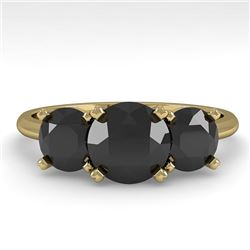2 CTW Black Diamond Past Present Future Designer Ring 14K Yellow Gold - REF-71F8M - 38495