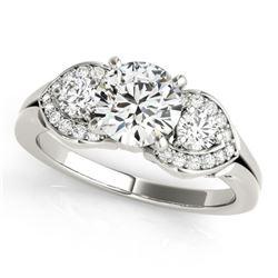 1.2 CTW Certified VS/SI Diamond 3 Stone Ring 18K White Gold - REF-220W9H - 27981