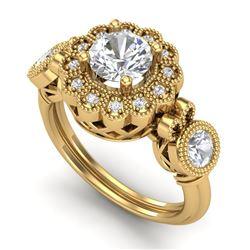 1.5 CTW VS/SI Diamond Solitaire Art Deco 3 Stone Ring 18K Yellow Gold - REF-300M2F - 37060