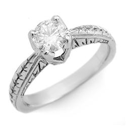 0.55 CTW Certified VS/SI Diamond Solitaire Ring 14K White Gold - REF-105H5W - 11474