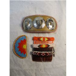 Lot of 5 Vintage Native American Beaded Hair Combs