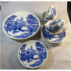 Nasco Blue Willow Dinner Set Lakeview Japan