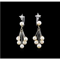 1.30 ctw Pearl and Diamond Earrings - 14KT White Gold