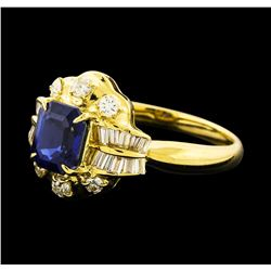 1.19 ctw Sapphire and Diamond Ring - 18KT Yellow Gold