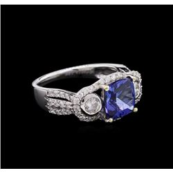 2.59 ctw Tanzanite and Diamond Ring - 14KT White Gold