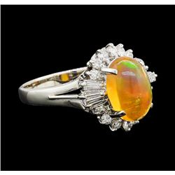 2.30 ctw Mexican Opal and Diamond Ring - Platinum
