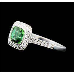 1.23 ctw Helenite and Diamond Ring - Platinum