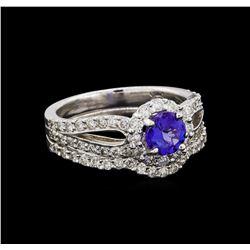 14KT White Gold 0.73 ctw Tanzanite and Diamond Wedding Ring Set
