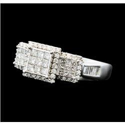 1.00 ctw Diamond 3-Square Ring - 10KT White Gold