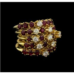 14KT Yellow Gold 5.98 ctw Ruby and Diamond Ring