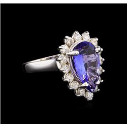 2.85 ctw Tanzanite and Diamond Ring - 14KT White Gold
