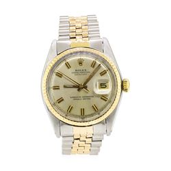 Two-Tone Rolex Oyster Perpetual Datejust Wrist Watch - Stainless Steel and 18KT