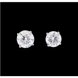 1.05 ctw Diamond Earrings - 14KT White Gold