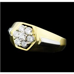 0.25 ctw Diamond Cluster Ring - 18KT Yellow Gold and Platinum
