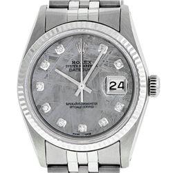 Rolex Mens 36mm Stainless Steel Meteorite Diamond Datejust Wristwatch