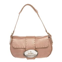 Fendi Pink Metallic Leather Selleria Small Shoulder Bag
