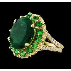 6.08 ctw Emerald, Tsavorite and Diamond Ring - 14KT Yellow Gold